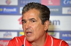The coach of the Costa Rican national football team, Colombian Jorge Luis Pinto, offers a press conference to announce the provisional 30-man squad for the FIFA World Cup Brazil 2014, in San Jose, on May 12, 2014.
