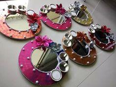 Cd Crafts, Diy Crafts To Do, Creative Crafts, Hobbies And Crafts, Thali Decoration Ideas, Diwali Decorations, Festival Decorations, Wedding Decorations, Diwali Craft