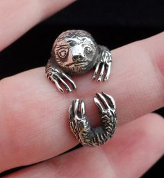 Silver Sloth Ring, Sterling Silver Ring, Silver Sloth Jewelry, Animal Ring, Solid Silver Sloth Ring by Inmmotion on Etsy Round Diamond Engagement Rings, Antique Engagement Rings, Engagement Jewelry, Animal Rings, Animal Jewelry, Sterling Silver Rings, Silver Jewelry, Sterling Jewelry, Silver Earrings