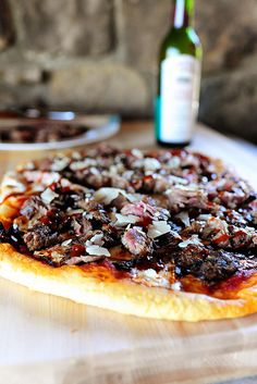 Steakhouse Pizza: Grilled steak, marinara, mozzarella, and good quality steak sauce. Up the ante and add blue cheese crumbles! Divine.