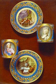 Porcelana de Sevres con imágenes de Luis y Maria Antonieta