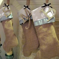 Personalized your Burlap Christmas Stocking with a glitter Initial! (No tutorial – just a great idea)