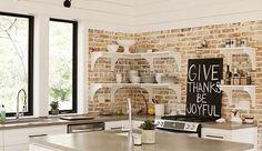 Cocina con paredes de ladrillo visto #ladrillos #paredesdeladrillo #decoracion