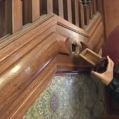 FoodWaterShoes - The Strater Hotel's lobby staircase has a hidden secret compartment - From Circle the Wagons – The Historic Strater Hotel in Durango, Colorado - Cross country road trip U.S. drive places to see near Mesa Verde National Park