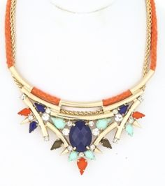 Orange Rope Teardrop Bib. This vibrantly colored bib is perfect for fall and will definately catch the eyes of all.  Statement, Bib, Fall, Jewelry, Necklace, Fashion, Style, Trendy, Accessories.
