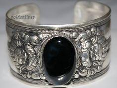 Nepalese Tibetan Onyx cuff bracelet from Nepal by goldenlines