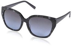 SOCIETY NEW YORK Women's Angular Square Sunglasses Smoke Marble 55-17-140
