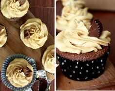 Chocolate Cupcakes with Peanut Butter Frosting Recipe on http://quickfeetgoodeats.com
