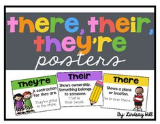 Display these posters in your classroom as a reference for your students. The set includes three posters - there, their, they're.
