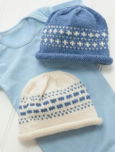 """""""Two-for-One"""" Caps designed by Doreen L. Marquart. Knit with Meriboo MW from Frog Tree Yarns."""