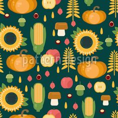 Agriculture Autumn Harvest Vector Design by Alexandra Malygina at patterndesigns.com Vector Pattern, Pattern Design, Autumn Harvest, Cartoon Styles, Warm Colors, Vector Design, Surface Design, Agriculture, Backgrounds