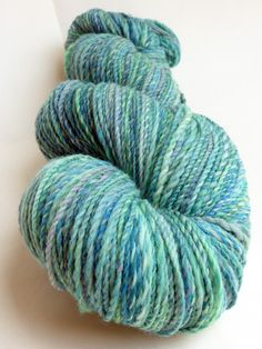 """Handgesponnen & -gefärbt - """"Türkis"""" handgesponnene handgefärbte Wolle - ein Designerstück von Farberfinderin bei DaWanda"""