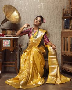 """Wide range of pure kanchi pattu silk woven sarees fresh out of looms. we present """"Paramparaagat"""" the celebration of our tradition and the… Gold Silk Saree, Bridal Silk Saree, Saree Wedding, Wedding Bride, Kanjivaram Sarees Silk, Indian Silk Sarees, Kanchipuram Saree, Golden Saree, Saree Poses"""