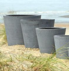 Concrete effect polystyrene pots from Evergreen