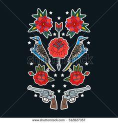새, 총, 장미.  티셔츠 및 기타 자료에 인쇄하십시오.  스티커, 핀, 패치 및 만화에서 필기 메모 컬렉션의 집합입니다.  벡터 일러스트 레이 션