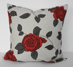 Rose Decorative Throw Pillow Cover, Red Roses with Charcoal Grey Leaves, 20x20 on Etsy, $26.00