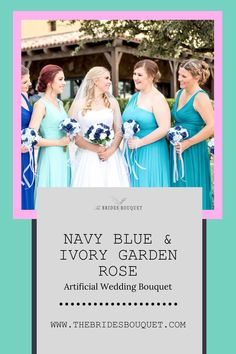 You will receive this stunning artificial wedding bouquet of navy blue and ivory rose stems with rose leaves exactly as pictured, with a satin ribbon wrapped handle. It looks like it's fresh from the garden, but will never wilt. #wedding #weddingideas #weddingplanning #weddingdecorations #weddingbouquet #bouquet Softball Wedding, Basketball Wedding, Rose Stem, Rose Leaves, Cheap Wedding Flowers, Bridal Flowers, Silk Flower Bouquets, Bride Bouquets, Destination Wedding