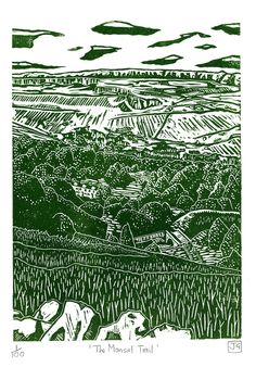 """The Monsal Trail"" linocut by James Green. colourhttp://jamesgreenprintworks.blogspot.co.uk/     Texture of the landscape"