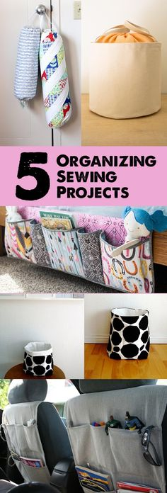 Spring cleaning? Sew up some projects to help you organize your entire house (and car!)         Top to bottom, left to right:     Groce...