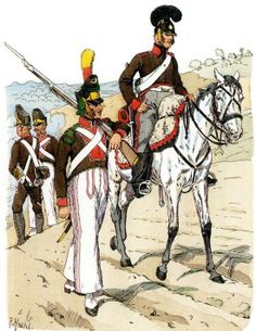 Portuguese Legion 1812 from left to right: soldiers of the central line infantry, voltigeur, rifleman on horseback. Fig. R. Knotel.