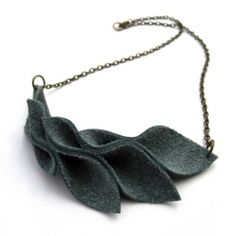 ... homemade present... take notes sis -How to make a simple and sophisticated leather leaves necklace.