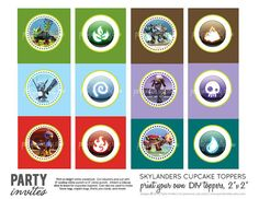 Skylanders Personalized Cupcake Toppers by partyinvites on Etsy, $8.00