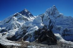 Balding Everest Sheds Its Ice, Extensive Glacial Retreat In Mount Everest Region   A new study finds a decline in snow and ice on Mount Everest (second peak from left) and the national park surrounding it.