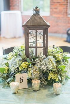 rustic hydrangea wedding centerpiece
