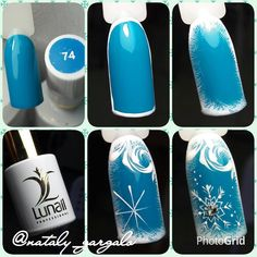 Winter manicure gel-varnish: creative design with a pattern. Holiday Nail Art, Winter Nail Art, Christmas Nail Art, Winter Nails, Christmas Snowflakes, Winter Christmas, Nail Art Designs, Winter Nail Designs, Christmas Nail Designs