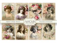 LITTLE LADIES   Digital Collage Sheet Gift tags by ArtCult on Etsy, $4.90