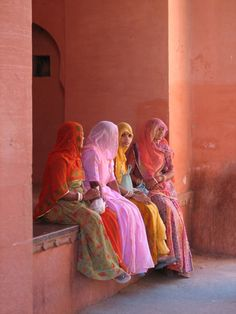 RAJASTHAN, INDIA. Women inside the gate of the Junagarh Fort in Bikaner.  Photograph by Gerben of the lake on Flickr.