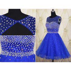 Royal Blue Tulle Short Homecoming Dress ($119) ❤ liked on Polyvore featuring dresses, black, women's clothing, royal blue dress, short homecoming dresses, prom dresses, black dress and mini dress