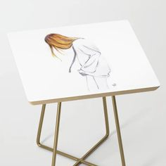 Blonde hair girl Side Table by martadehojas Blonde Hair Girl, Round Table Top, Girl Hairstyles, Print Design, Shop, Print Layout, Ladies Hair Styles, Little Girl Hair, Store