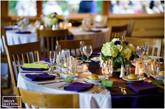 Purple linens for the tables