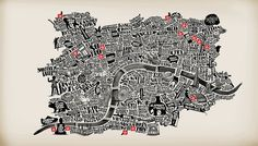 "London-based Brazilian graphic artist João Lauro Fonte created a typographic map of London for Converse. ""Converse has just released a map of London we did for them, with some of. Web Design, Graphic Design, Urban Design, Talk Is Cheap, London Map, City Maps, Map Art, Plans, Illustration Art"