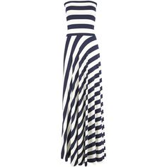 NADIA TARR Paris Lyon Striped Maxi Dress - Navy ($390) ❤ liked on Polyvore featuring dresses, maxi dress, long dresses, vestidos, navy, summer dresses, navy cocktail dress, maxi skirt, navy blue maxi dress and navy maxi skirt