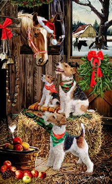 """New for 2013! Wire Fox Terrier Christmas Cards are 8 1/2"""" x 5 1/2"""" and come in packages of 12 cards. One design per package. All designs include envelopes, your personal message, and choice of greeting.Select the inside greeting of your choice from the menu below.Add your custom personal message to the Comments box during checkout."""