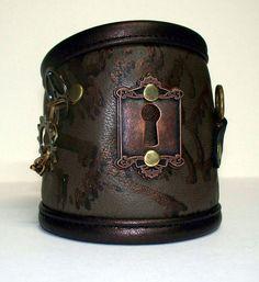 Darkwear Clothing Olive green bronze leather Key Print Steampunk Wrist Cuff 7.5 - 8 in