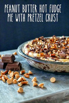The Stay At Home Chef: Peanut Butter Fudge Pie with Pretzel Crust