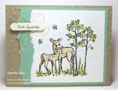 """created with Stampin' Up! supplies: new - """"In the Meadow"""" stamp set (w-140751,c-140754) """"Teeny Tiny Wishes"""" stamp set (w-128748,c-127802) Decorative Dots embossing folder (133520) Window Window punch (119857) Metallic thread - gold  (138401) Aqua painters and ink"""