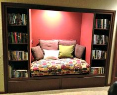 an old built-in entertainment center turned into a reading nook! #livingroom #readingnook #entertainmentcenter