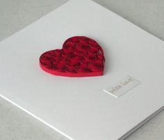 Quilled Valentine card with paper quilling heart, handmade greetings on Etsy, $8.88