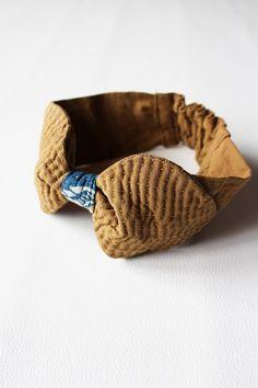 Antique linen sashiko head band/ribbon/dyed brown/hand stitch/hand made/French linen/head wrap/ZAKKA-063