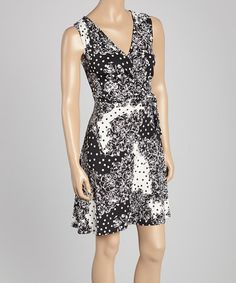 This Black & White Abstract Surplice Dress - Women & Plus by StellaMax is perfect! #zulilyfinds