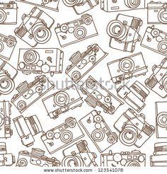 seamless pattern of vintage cameras by Anna Marynenko, via Shutterstock