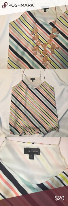 Bright Striped Sleeveless Top Super cute! Only worn twice! No signs of wear, excellent condition. The Limited Tops Blouses
