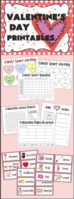 Valentine's Day Printables Pack - sorting & graphing, abc order, word search, letter writing, word wall, and more