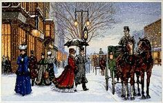 Artists conception of a Victorian street scene at Christmas time.