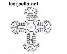 Cruz en crochet :lodijoella  Diagrama cruz blanca con perlita.
