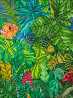 Tropical Mystery - Tropical Leaves, Garden Flowers, Rainforest Storm